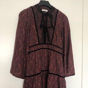 Doen Dresses Pearl Dress In Black Floral Orchid 100 Silk